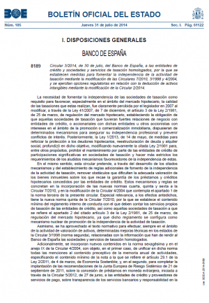 Circular 3/2014, de 30 de julio, del Banco de España