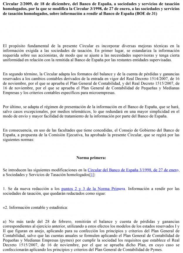 Circular 2/2009, de 18 de diciembre, del Banco de España