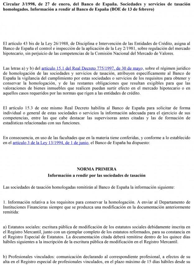 Circular 3/1998, de 27 de enero, del Banco de España