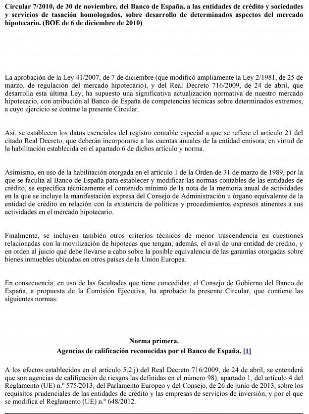 Circular 7/2010, de 30 de noviembre, del Banco de España